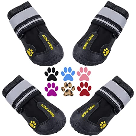 QUMY Dog Boots Waterproof Shoes for Dogs with Reflective Strips Rugged Anti-Slip Sole 4PCS/Set