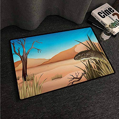 Washable Kitchen Area Rug Reptile,Grumpy Snake Looking from Grass at Desert Tropical Nature Poison Wildlife Home,Multicolor,W35 xL59 Personalized Floor mats