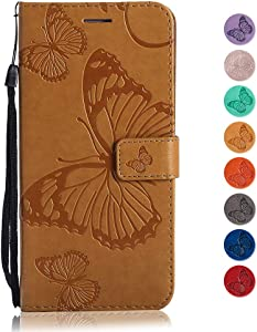 GORASS case for Huawei Honor 8X  Wallet Case Soft Leather Butterfly Embossed Design Case with Kickstand Function Card Holder and Slot Slim Flip Protective Skin Cover  Yellow