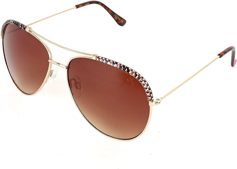 Betsey Johnson Women's 60MM Aviator Sunglasses, gold
