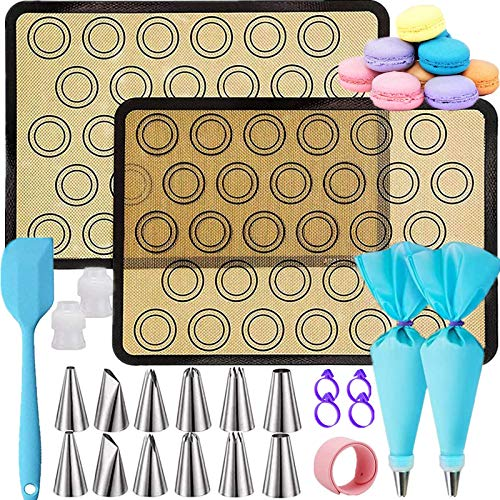 Mgee Backmatte aus Silikon für Macaron mit Düsen Kit für Makronen, Kuchen, Brot, BPA-frei Macarons Backmatte Hitzebeständig für Backofen & Mikrowelle (24pcs)