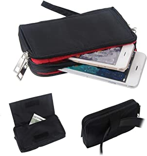 DFV mobile - Multipurpose Horizontal Belt Case with Zip Closure and Hand Strap for Huawei GR3 (2017) - Black (15.5 x 8.5 cm)
