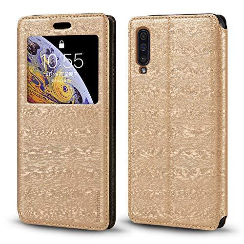 Funda Samsung Galaxy A50 de piel de grano de madera con tarjetero y ventana, tapa magnética con tapa para Samsung Galaxy A50 (dorado)