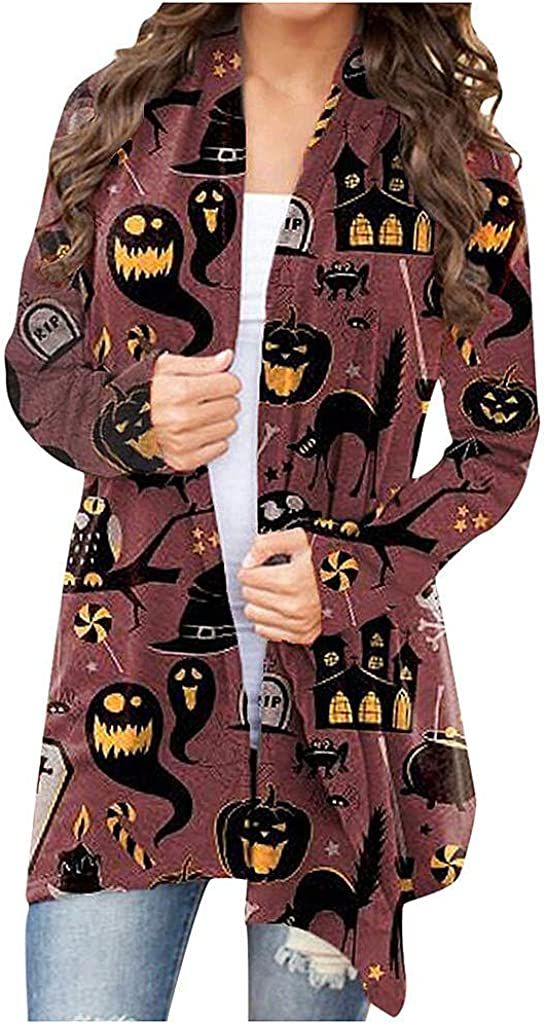 Halloween Costumes for Women,Women's Halloween Knit Sweaters Long Sleeve Pumpkin Witch Hat Graphic Loose Fit Shirt
