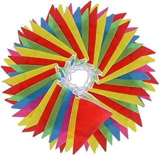 comprar comparacion Vicloon Multicolor banderín 100 Banderas de Poliéster Bunting Bandera de Triángulo Decoración Banderas Decorativas de Tela...