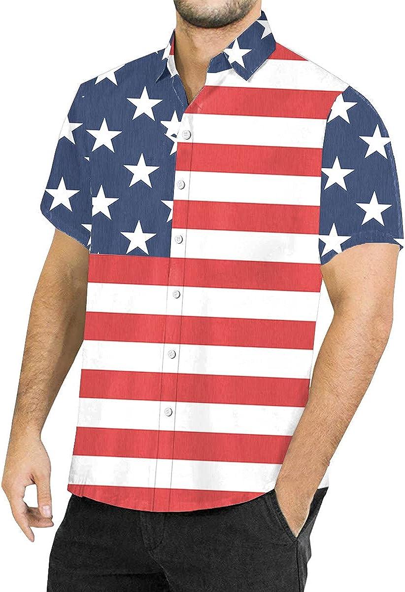 BesserBay Mens 4th of July American B 推奨 Aloha 付与 Shirt Patriotic Flag