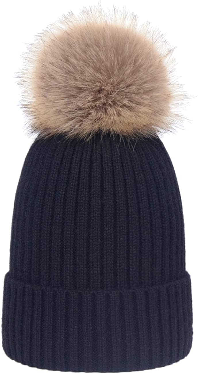 Ladies Womens Warm Winter Woolly Beanie Hat Detachable Faux Fur Pom Pom