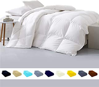 Luxury 800TC Egyptian cotton Comforter 500 GSM,Ultra-Soft, Plush Fiberfill All Season Comforter with Corner Tab & 4 inch hem Box stitched Double Brushed Superior & Durable(King/Cal-King-White)
