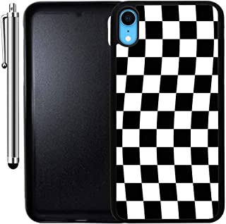 Custom Case Compatible with iPhone XR (Checkered Flag Finish Line) Edge-to-Edge Rubber Black Cover Ultra Slim | Lightweight | Includes Stylus Pen by Innosub