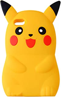 TopSZ Classic Pikacu Case for iPhone SE 5C 5S 5G 5,Silicone 3D Cartoon Hero Animal Cover,Kids Girls Teens Boys Man Animated Cool Fun Cute Kawaii Soft Rubber Funny Unique Character Cases for iPhone5 SE