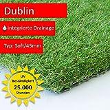 Steffensmeier Kunstrasen Rasenteppich Dublin Meterware | wasserdurchlässig UV-Garantie für Balkon, Terrasse, Garten | Grün, Größe: 300x350 cm