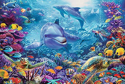 Puzzle per adulti gioco 1000 pezzi adulti decompressione giocattoli per bambini di grandi dimensioni sottomarino scuola di pesce puzzle-6