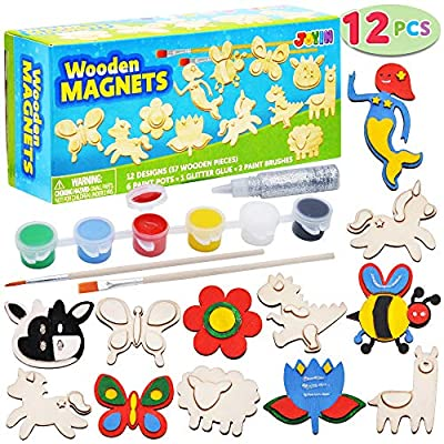 JOYIN 12 Wooden Magnet Creativity Arts & Crafts Painting Kit Decorate Your Own for Kids Paint Gift, Birthday Parties and Family Crafts, Easter Basket Stuffers. from Joyin Inc