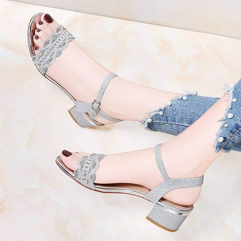 LTN Ltd - sandals EIN-Knopf-Schnalle Sandalen Weiblich Dick mit mit mit Der Fee Wind Sommer Damenschuhe Damenschuhe Größe, Silber, 35 d17