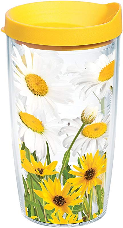 Tervis 1139276 White Daisies Tumbler With Wrap And Yellow Lid 16oz Clear