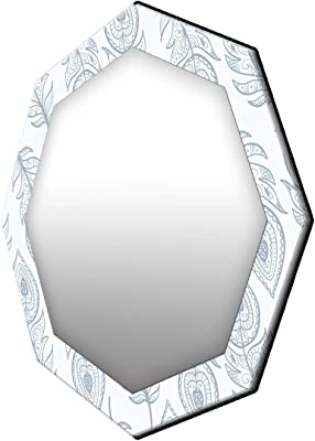 999Store Printed White and Grey Leaves Octagon Mirror (MDF_17X17 Inch_Multi)