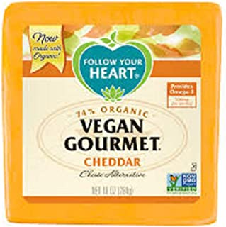 Follow Your Heart Non-GMO Organic Vegan Gourmet Cheddar Cheese Alternative, 10 Ounce (Pack of 12)