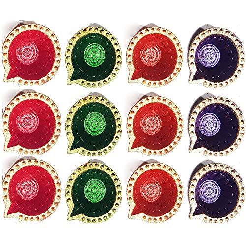 Hecho a mano tradicional de la tierra multicolor Diya lámpara de aceite con 12algodón Batti/mechas con libre puerta Valance... al azar colores