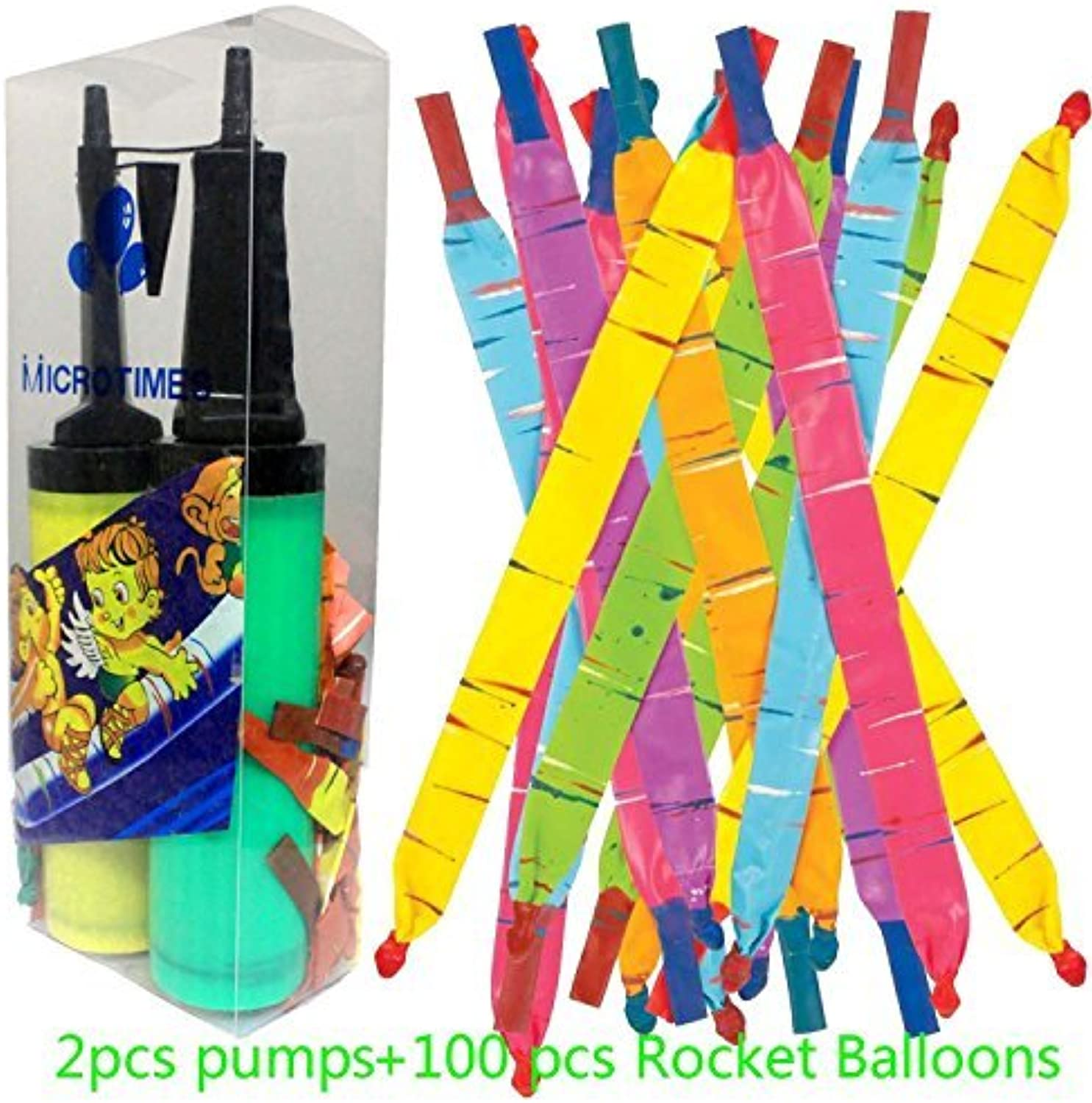 Micredimes 100 PCS Toy Rocket Balloons,Giant Rocket balloons refill with Pair of Pumps SET, Party Favor Supplies Long Balloon Flying Whistling(colors may vary) by Micredimes