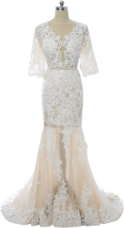 QY Bride Sexy Sheer Lace Beach Wedding Dresses Mermaid Short Sleeve