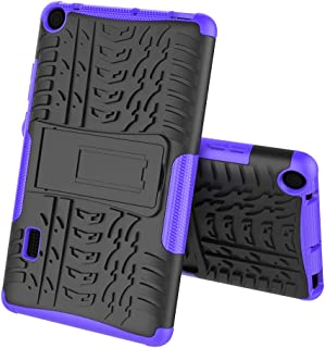 Boleyi Case for Huawei MediaPad T3 7.0, [Heavy Duty] [ Slim Hard Case] [ Shockproof] Rugged Tough Dual Layer Armor Case With stand function -Purple