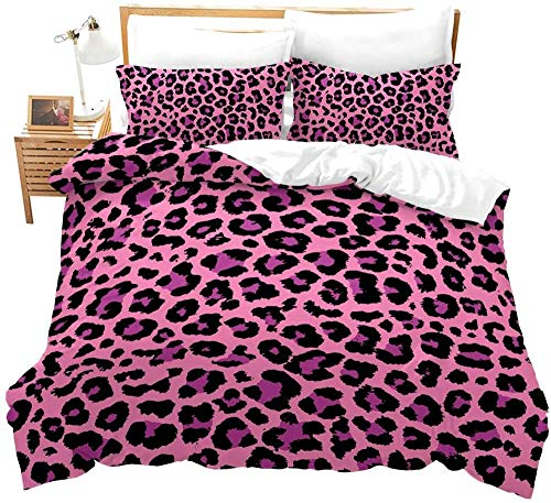 Bcooseso 3D African animal pink leopard print Comforter Cover Double size 200 x 200 cm 3 Pieces (2 Pillowcase, 1 Duvet Cover) 3D Bedding Set, Soft Zipper Sports Duvet Cover for Boys, Girls and Teens.