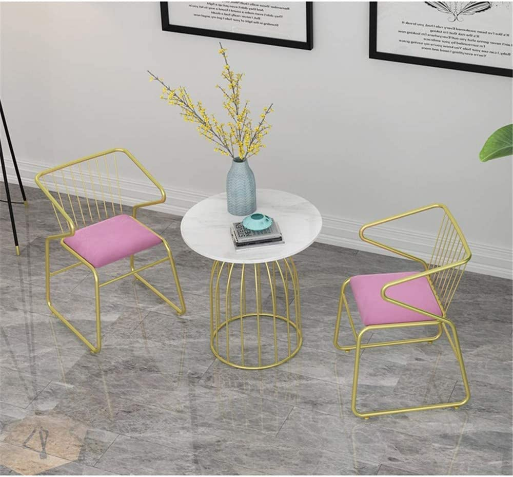 OFAY Chaise De Salle À Manger Décontractée, Fauteuil De Dossier Confortable en Fer Forgé Nordique, Chaise De Maison Minimaliste Moderne,Rose Pink
