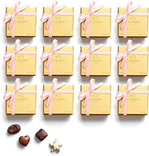 Godiva Chocolatier Chocolate Gold Favor 4 Piece Gift Box, Pink Ribbon, Great as a Gift, Chocolate Wedding Favors, Birthday Favors, Chocolate Gift Box, Set of 12