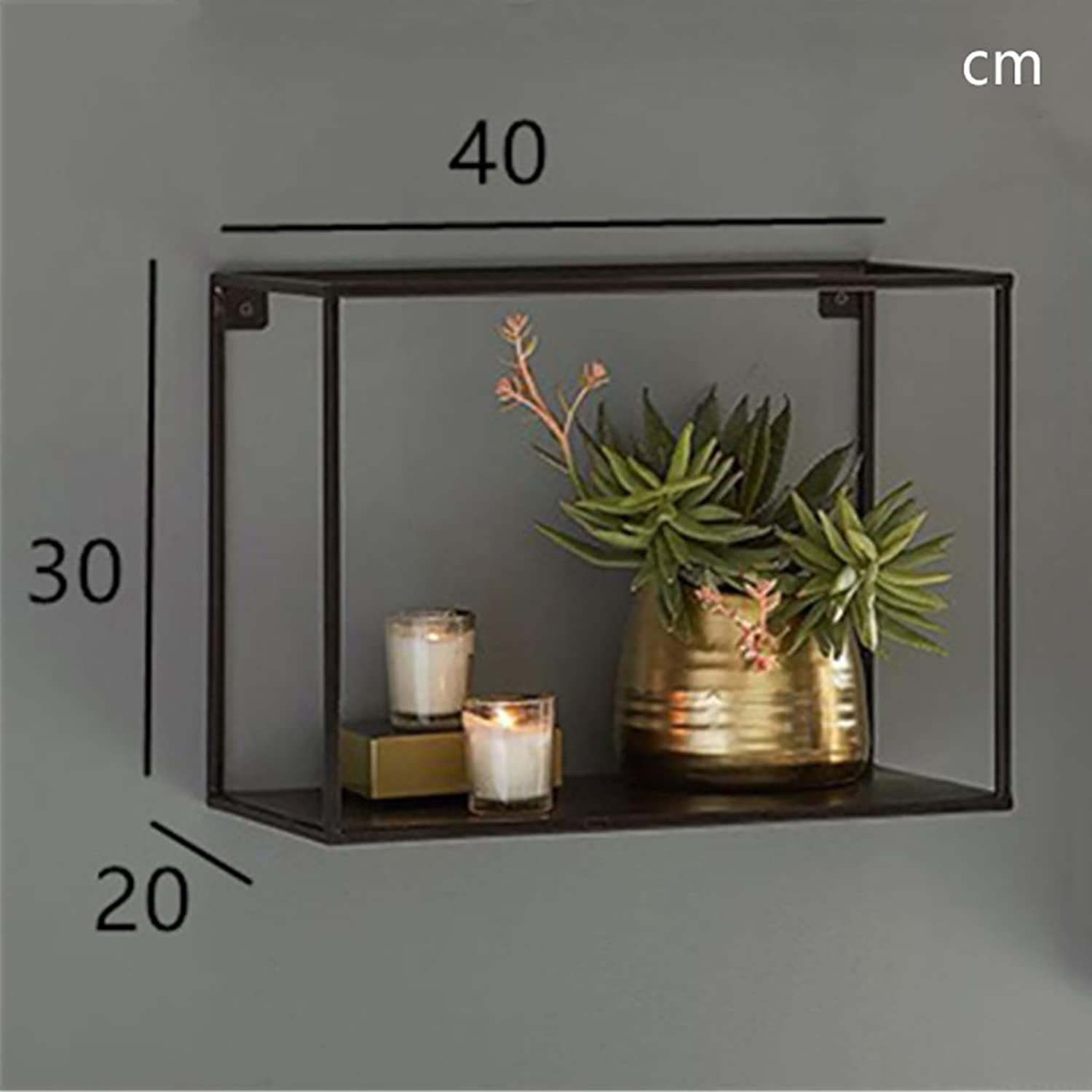 Retro Bookshelf Mounted Display Bookshelf Wall Decoration Bedroom Living Room Shelves Square Iron Wall Frame Retro ( color   A2 )