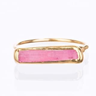 Size 7 Pink Bar Ring, Pink Tourmaline, Yellow Gold, Raw Gemstone Jewelry