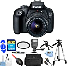 Canon EOS 4000D / Rebel T100 with EF-S 18-55mm f/3.5-5.6 III PRO Bundle with 32GB SD, Flash, Tripods, Gadget Bag, HDMI Cable + More [International Version]
