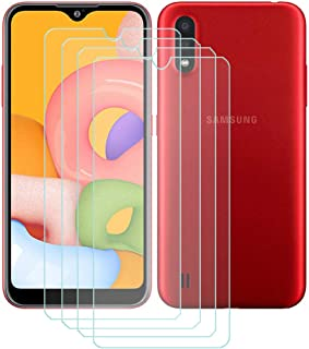 TTJ 4 stycken skottsäkert glas skyddsfolie för Samsung Galaxy M01S, 9H hårdhet härdat glas pansarglasfilm anti-rep/anti-fi...