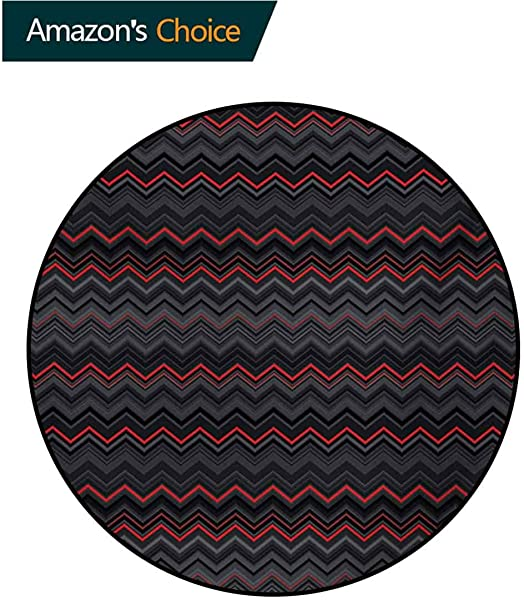 RUGSMAT Red And Black Modern Washable Round Bath Mat Zigzag Chevron Design With Bold Thin Layers Print Non Slip Bathroom Soft Floor Mat Home Decor Diameter 35 Inch Pale Grey Charcoal Grey And Scarlet