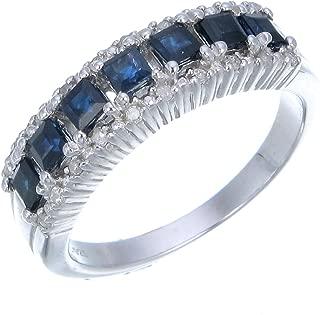 0.70 CT Sterling Silver Blue Sapphire & Diamond Wedding Band (0.70 CT)