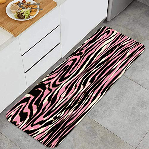 Alfombra de Cocina Antideslizante,Fondo de Piel de Cebra,Estera de Cocina Felpudos Decorativo Alfombra para Dormitorio Baño Pasillo 45 x 120cm