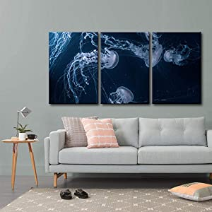 wall26 - 3 Piece Canvas Wall Art - Jellyfishes in Deep Ocean - Modern Home Art Stretched and Framed Ready to Hang - 16