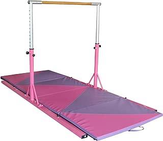 Usexport Pink Gymnastics Junior Training Horizontal Bar Adjustable 3' to 5' and 4'x10'x2