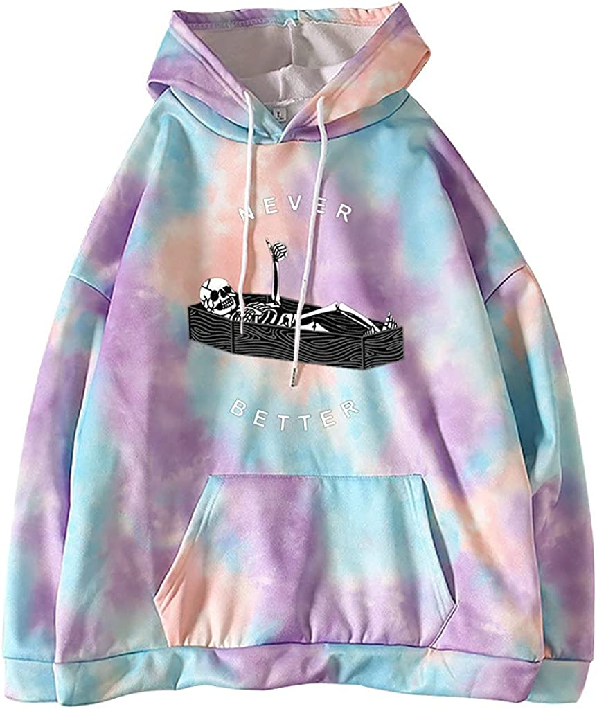 Womens Printed Hoodie Stylish Casual Oversized Long Sleeve Hooded Tops Shirt Tunics Pulllover Sweater with Pocket