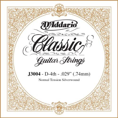 D'Addario J3004, cuerda individual rectificada para guitarra clásica, tensión normal, cuarta cuerda, Transparente
