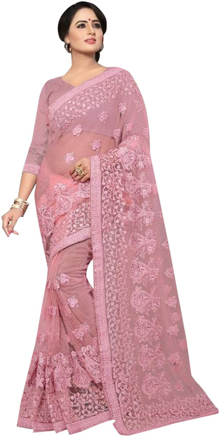 Designer Cocktail dress Pure Net Indian Women Lavender Pink Embroidered Saree with Stitched Blouse 7448