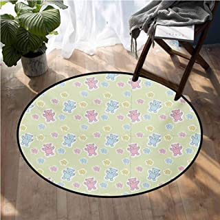 Nursery Multi-Color Modern Area Rug Baby Toy Drawing Pattern with Soft Colored Teddy Bears and Wildflowers Non Slip Door Mat for Front Door D36 Inch