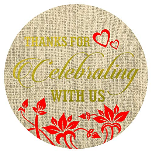 """Thanks for Celebrating with us Stickers Seals Labels (Pack of 120) Stunning Gold Foil Stamping 2"""" Large Round - Burlap"""