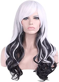 Numberus Long Curly Cosplay Black and White Color Synthetic Wig with Soft Side Bangs Fashion Style Wigs for Women Cheap Wigs