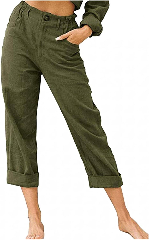 Huangse Women's Cotton Linen Solid Color Pants Folded Hem Drawstring Elastic Waist Bottoms Casual & Dress Trousers