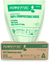 POWERTEC ASTM D6400 Certified Compostable Bags – 100 Count | 9.84 Liter - 2.6 Gallon Trash Bags, 0.71 Mil, US BPI and European OK Compost Home Certification - 100% Sustainable Green Products