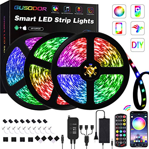 50FT LED Strip Lights , GUSODOR RGB Light 5050 LEDs Tape Strips Rope Light Music Sync Colors Changing with 24-Key Remote for Home Bedroom TV Party Christmas - Smart APP Controlled [ Black Kit ]