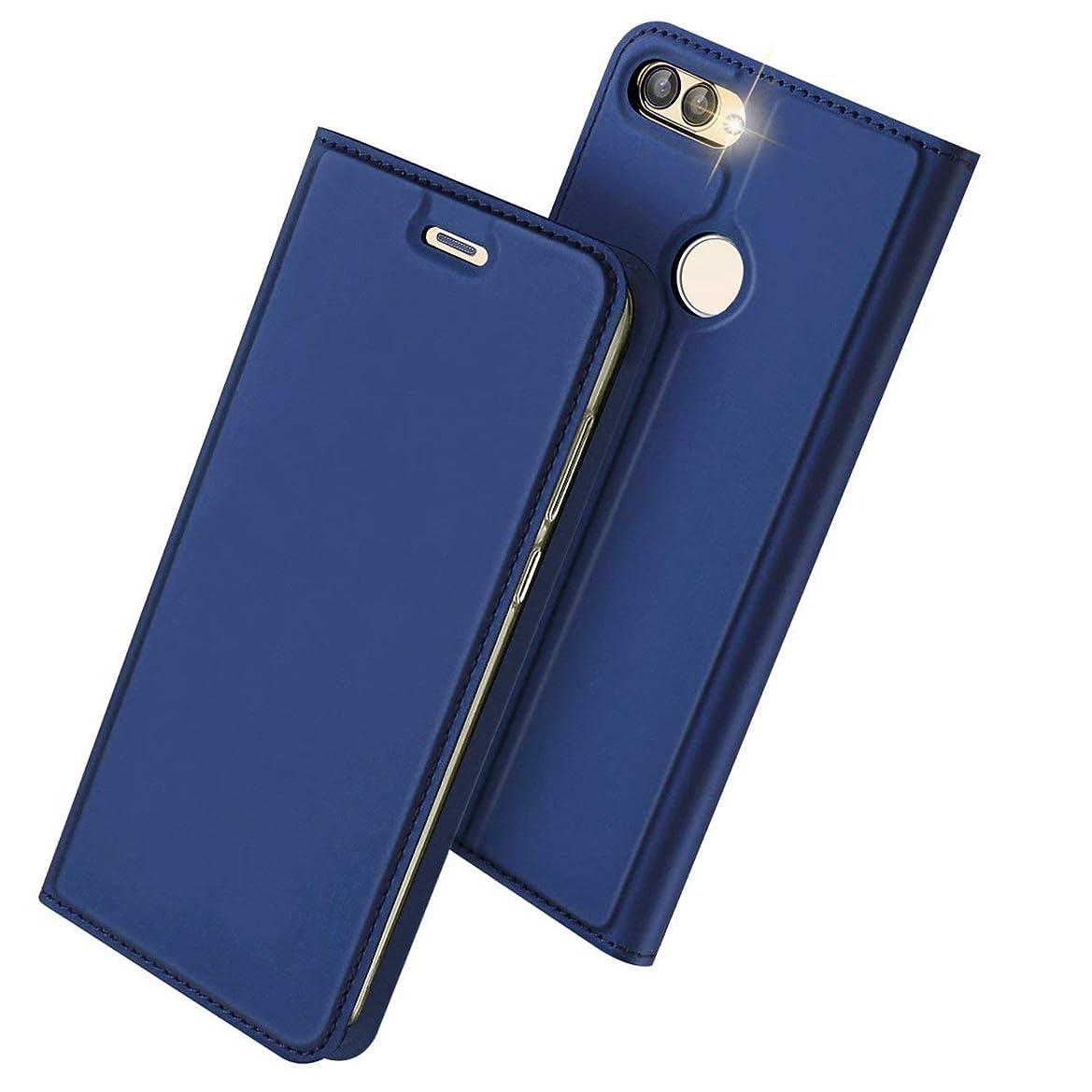 盲目システム確保するAnero Huawei nova lite 2 ケース 手帳型 高級PU レザー 耐衝撃 薄型 軽量 カード収納 nova lite2 / P smart 専用 財布型 マグネット スタンド機能付き スマホケース 耐汚れ シンプル 人気 おしゃれ ケース (ブルー)