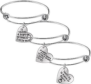 Teacher's Day Gifts - 3pcs Teacher Bangle Bracelet Appreciation Jewelry,Graduation Gift for Teacher