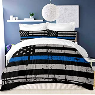 ARL HOME American Flag Bedding Set 3PC Full Size Blue Stripe USA Flag Duvet Cover Fourth of July Independence Day Retro St...