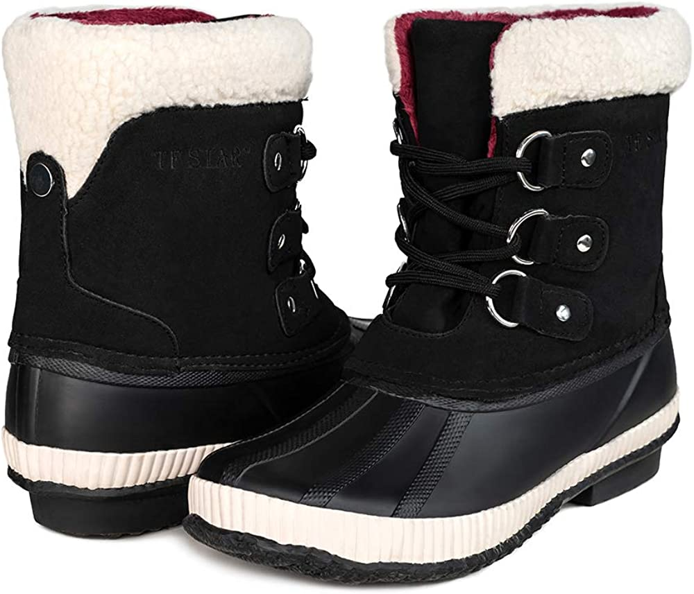 TF STAR Women's Ankle Calf Comfortable New popularity B lace Bean Waterproof up Max 57% OFF